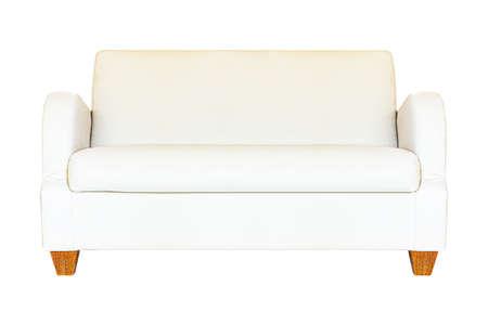 Cream leather sofa isolated on a white background Standard-Bild