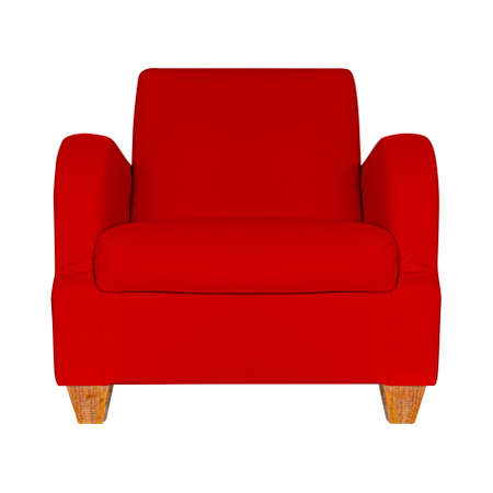 Red leather sofa isolated on a white background Standard-Bild - 163190354