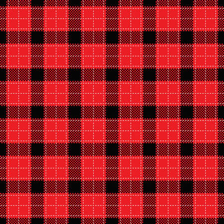 Buffalo plaid pattern in red and black. Seamless background