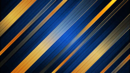 Abstract blue and gold stripes background. Design template for brochures, flyers, magazine