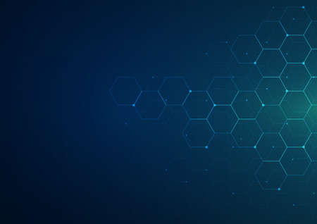 Digital technology background. Abstract hexagons background with lines and dots. Design for science, medicine or technology