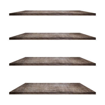Wood shelves table isolated on white background. Use as montage for product display