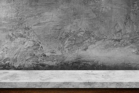 Empty stone table top on concrete background, Template mock up for display of product