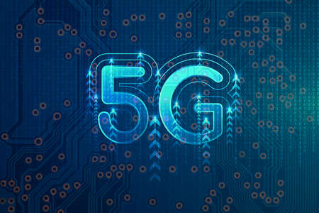 5G network wireless internet, High-speed mobile Internet, Wifi connection. Hi-tech digital technology concept. Binary code abstract technology background