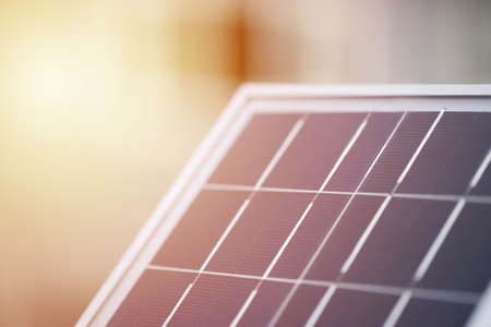 Solar panel, concept of sustainable resources, sun lighting reflect, photovoltaic Фото со стока