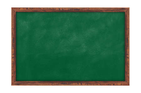 Blackboard background and wooden frame isolated on white background