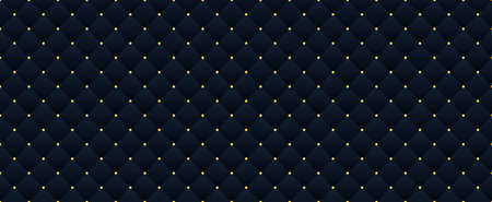 Dark blue seamless pattern with a gold crown. Leather texture Background