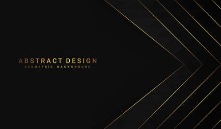 Black polygonal background with golden lines. Design template for brochures, flyers, magazine, banners etc. Иллюстрация