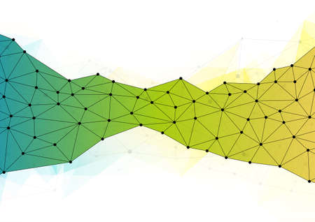 Abstract green and yellow polygonal background with connecting dots and lines. Network or connection concept. Abstract technology science background