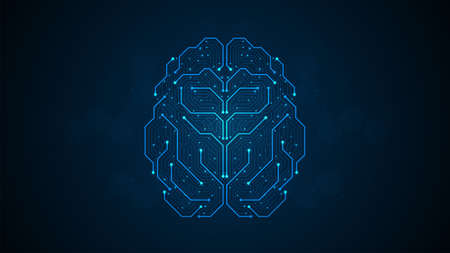 Abstract brain form electronic circuits lines pattern. Point connecting network on blue background Фото со стока