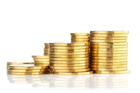 Golden coin stack isolated on white background