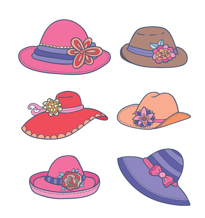 pink hat: illustration of different types of summer women hats