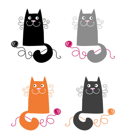 grey cat: Set of four simple and funny cats  Illustration