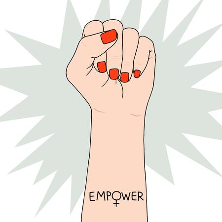 Símbolo del feminismo en la lucha contra el puño de una mujer. Preciosa ilustración vectorial. Lucha por los derechos y la igualdad.