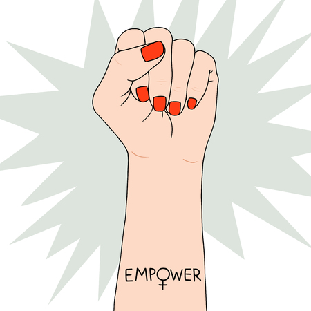 Symbole de féminisme sur le poing de combat d'une femme. Belle illustration vectorielle. Luttez pour les droits et l'égalité.