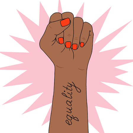 Feminism symbol on  Fighting fist of a woman. Lovely vector illustration. Fight for the rights and equality. Stock Illustratie