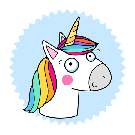 Lovely vector illustration of the funny unicorn. Cute magic animal mascot.  Bright rainbow colors 47184c1961f0