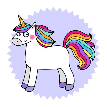 Lovely vector illustration of the funny unicorn. Cute magic animal mascot. Bright rainbow colors. Vectores