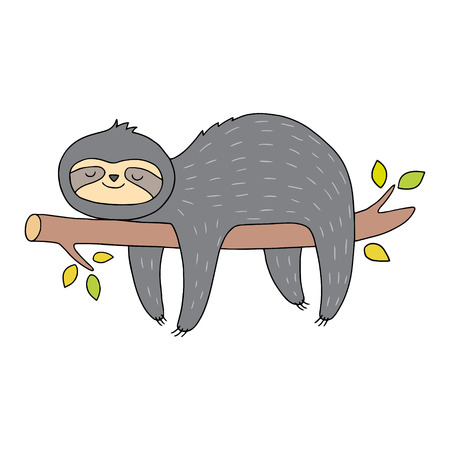 Cute sloth illustration. Vector drawing with outlines. Animal art for children.