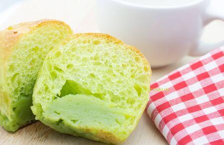 pandan: half of bread pandan custard