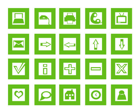 useful: Set of 20 useful icons in green