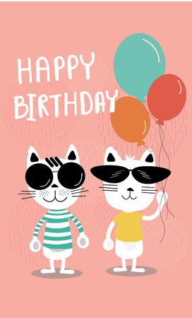 cute soft pastel colour cartoon birthday card, funny cats in sunglasses and holding balloons