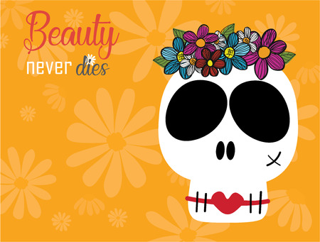 funny skulls lady in flower wreathe crown with red lips on yellow background, beauty never die concept