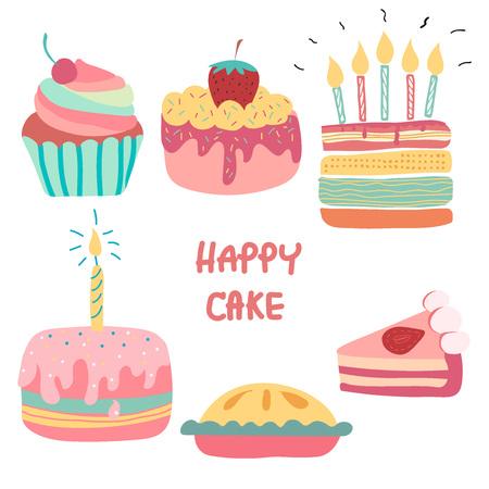 doodle hand drawn rainbow cute birthday cake