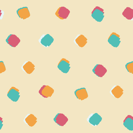 summer bright colourful ink brush square dot pattern seamless background