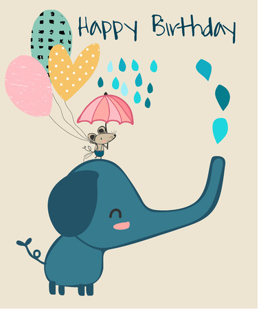 cute elephant and little mouse holding umbrella, birthday card