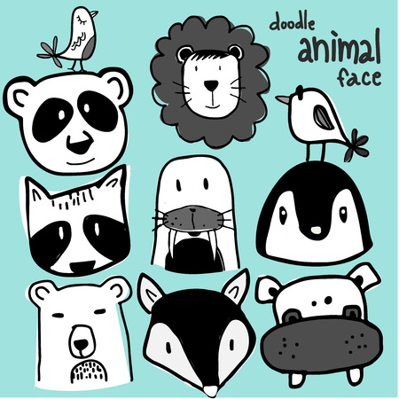 wild animal face doodle set