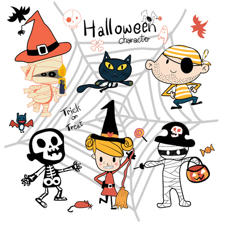 hand drawn Halloween trick or treat character cute vector Illustration