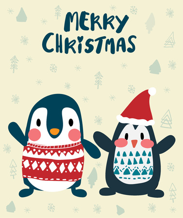 penguins in winter merry Christmas card