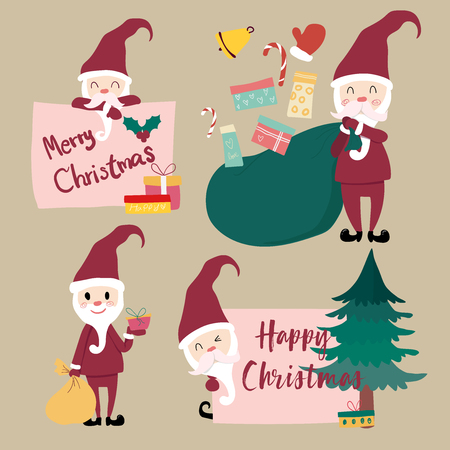 collection of flat vector santa clause