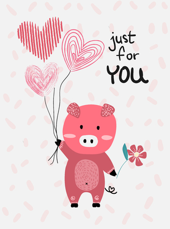 love card  vector flat design hand drawn love card  vector pink pig hold heart balloons Ilustração