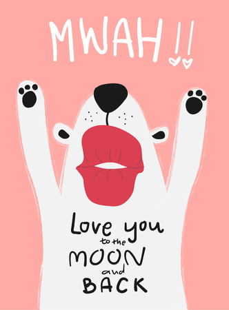 love card white dog with big kiss mwah Vetores