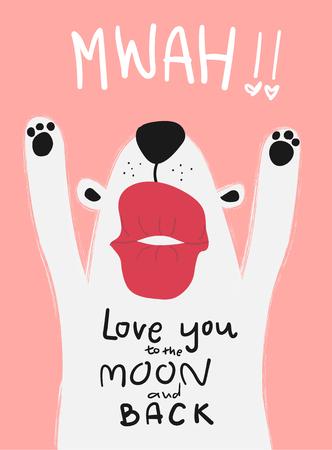 Tarjeta de amor perro blanco con beso grande mwah Ilustración de vector