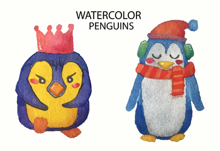 watercolor collection of cute hand drawn penguins