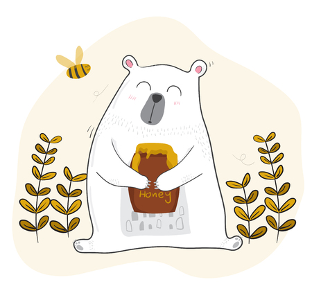 cute white bear having coffee in spring season with a little bee Ilustração