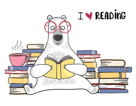 cute white bear in red glasses is reading book with pile of books Ilustração