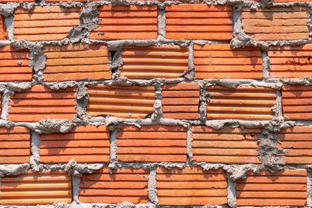 pattern red brick wall grunge with cement for background