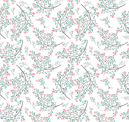 pink flower green leaves pattern seamless