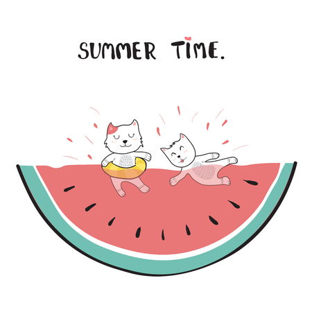 cats swimming in watermelon doodle hand drawing