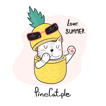 doodle hand drawing cute cat peeking throught a pineapple, pinecatple Ilustração
