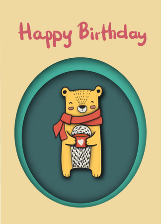 cute happy bear holding coffee cup drawing paper cut happy birthday card