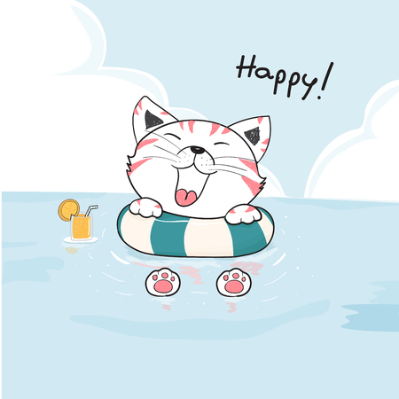 cute happy cat in life ring on the sea drawing vector Ilustração