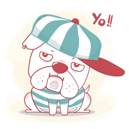 Cute doodle hand drawing nigga bulldog wear cap like a boss cartoon flat vector in vintage green and red color, great for kid, child, souvernior printable stuff, greeting card, baby shower and birthday card. Ilustracja