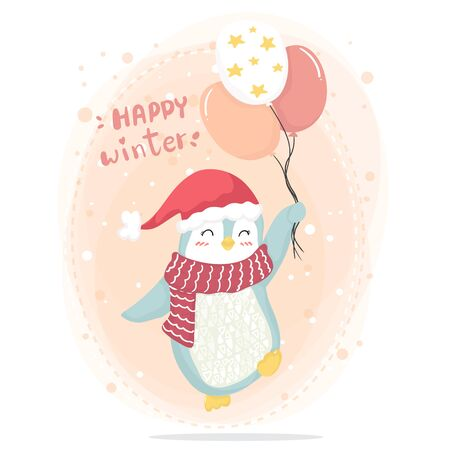 Happy winter happy pink penguin with red scarf and red hat  holding pink star balloons