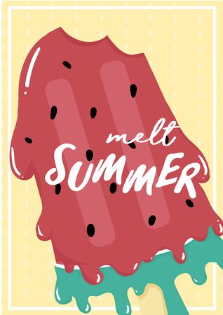 cute sweet red watermelon melted ice cream summer card with melt summer text flat vector icecream cone waffle idea for printable card, kid stuff, childhood print with text