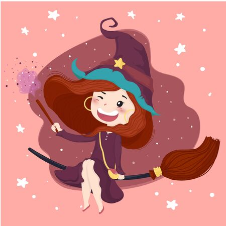 cute witch with a magic stick halloween background in purple dress ride a bloom, flat vector character